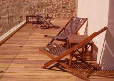 Carpintería Gregori / Terraza, parquet y sillas